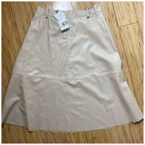 NWT Zara Faux Leather Skirt